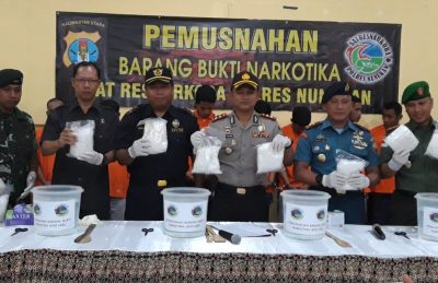 Polres Nunukan Musnahkan 12.5 Kg Narkotika Hasil Operasi Gabungan
