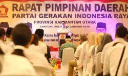 Gubernur Paparkan Kemajuan Kaltara di Rapimda Partai Gerindra