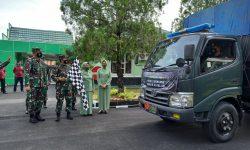 Dilepas Danrem 091/ASN, 3 Truk dan 3 Minibus Angkut Bantuan Korban Banjir di Kalsel