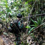 Pastikan Situasi Kondusif, Satgas Pamtas RI-PNG Yonif 611/Awl Patroli Blusukan Hutan