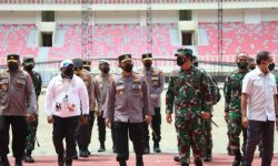 Panglima TNI, Kapolri & Menpora Tinjau Kesiapan Stadion dan Arena Akuatik PON XX
